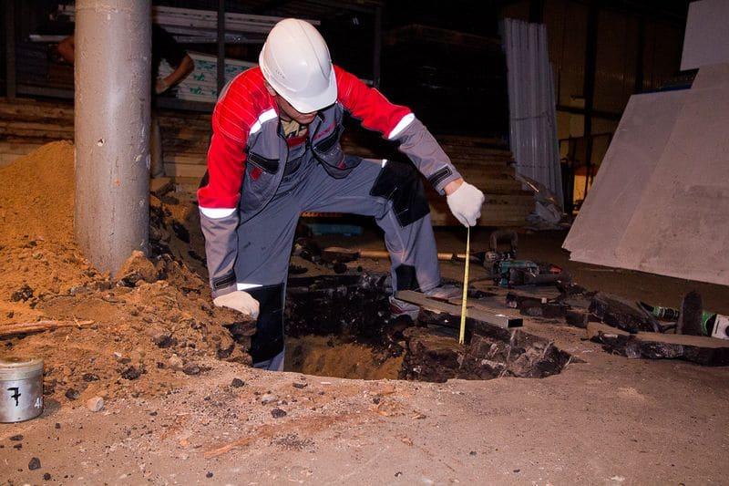 Обследование фундаментов выкапыванием шурфа